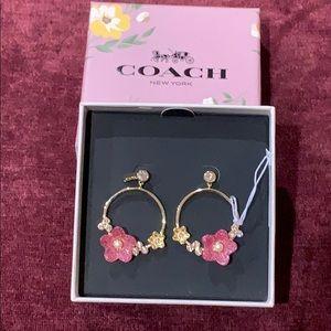 Coach Folk Floral Hoop Earrings